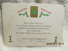 1950s Christmas Card from O.C. Johnson Socony Vacuum Oil Company Became Mobil