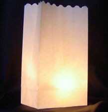 10 White Tealight Candle Party Paper Bag Lantern Outside Path Luminara Decor