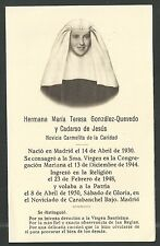 Estampa antigua de la Hermana Maria Teresa andachtsbild santino holy card