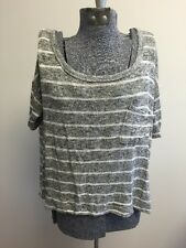 Women's Mossimo Supply Co. Gray & White Striped Shirt Short Sleeve Sweater Top M
