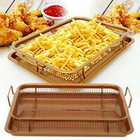 Copper Crisper 2 Piece Set Non-Stick Oven Mesh Chips Baking Tray Crisping Basket