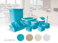 Lace style Bath SET Plastic Laundry Hamper Basket Pedal Bin /Bathroom Bedroom/
