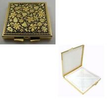 Damascene Gold Bird & Flower Design Square Pill Box by Midas Toledo Spain 8501
