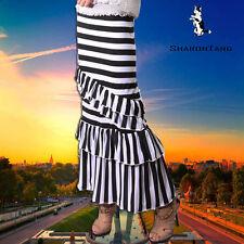 SHARON TANG Modest Apparel Long Wide Stripes Stretch Layer Ruffles Maxi Skirt L