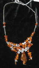 HANDCRAFTED AMBER & CRYSTAL CHIPS NECKLACE BY LADAN