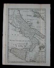 1747 Original Antique Map Kingdom of Sicily Naples Southern Italy Emanuel Bowen