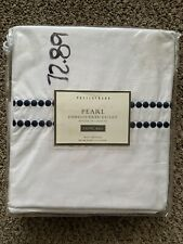NIP Pottery Barn PEARL EMBROIDERED DUVET Twin BLUE