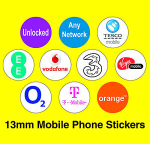 Mobile Phone Network Labels - Unlocked / Any Network / Virgin / Tesco / EE / 3