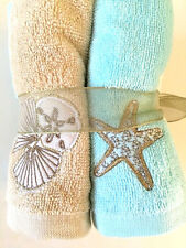 Embroidered Face cloths Starfish Shells Beach House 100% Cotton Set of 6 New