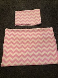 Girls Pink And White Spots Chevrons Double Sided Toddler Duvet Set
