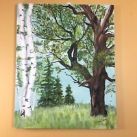 Vintage 70's Birch Evergreen Tree Landscape 20 X 16 Acrylic Canvas Cabin Rustic