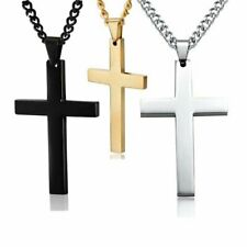 Stainless Steel Men Cross Pendant Necklace Chain Fashion Jewelry Unisex Hot Gift