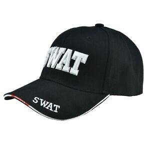 Black SWAT Team Police Officer Embroidered Adjustable Hat Baseball Cap