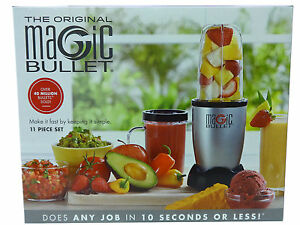 The Original Magic Bullet 11 Piece Set Blender & Mixer, Small, Silver, Brand New