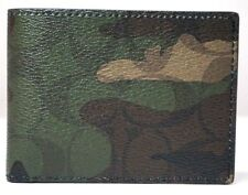 COACH 'Signature Camouflage' Mens Printed Coated Canvas Slim Billfold Wallet NEW