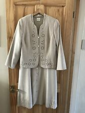 Eastex Dress Suit, Dress 16, Jacket 14,in Beige With Embroidery + Sequin Detail