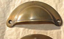 2 shell shape pulls handles heavy solid brass vintage aged style drawer 10 cm B