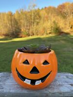 Vintage Ceramic Halloween Pumpkin Jack-O-Lantern Planter Trick or Treat