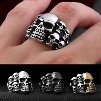 Death Punk Skull Rock Head Gothic Men's Rings Titanium Steel Cool Men's Jewelry