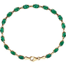 "Lab-Grown Emerald 7"" Bracelet In 14K Yellow Gold"