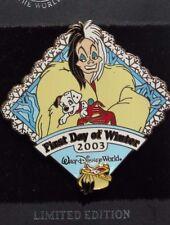 Disney Wdw First Day Of Winter 2003 Cruella De Vil 101 Dalmatians 3D Le 2000 Pin