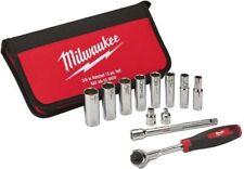Milwaukee 3/8 Drive SAE Socket Set 12-Piece Ratchet Adaptor Wrench Nut Driver