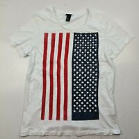 Men's H&M Short Sleeve T-Shirt Size S White American Flag - SF38