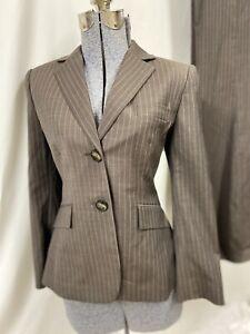 Tahari A S Levine Tan Beige Pinstripe Pant Suit Size 8 Formal Business Career