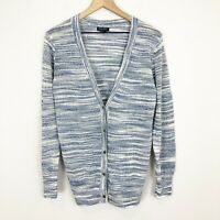Lucky Brand Womens Blue White Long Lightweight Knit Cardigan Sweater L Large