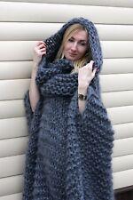6 strands M-XXXL  Premium Mohair Poncho whith neck Hoodie hand knit Gray