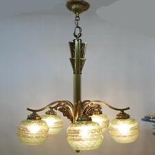Art Deco Hängelampe mit 5 Brennstellen und 5 Lampenglocken aus Uranglas