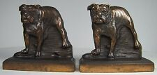 Antique Cast Iron Bulldog Bookends wonderful bronze wash htf figural bull dog be