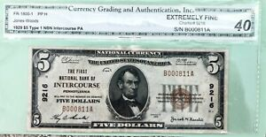 1929 $5.00 T1 FIRST NATIONAL BANK OF INTERCOURSE PENNSYLVANIA PA Ch # 9216