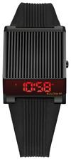 New Bulova Computron Red LED Digital Retro Rubber Band Men's Watch 98C135