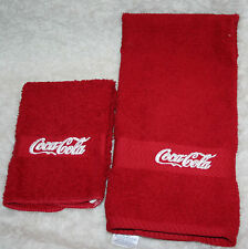 """""""Coca Cola Inspired""""1 Red Handtowel &1 Red Washcloth w/white thread embroidered"""