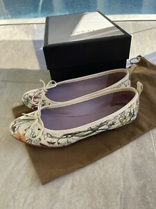 GUCCI White Mini Infinity Flora Leather Ballet Bow Ballerinas Flats Shoes 36