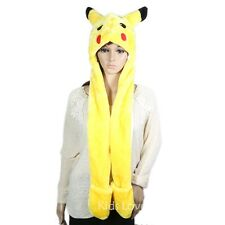 Anime Cartoon Trainer Pokemon Cute Pikachu Plush Hat Cap with Gloves Cosplay