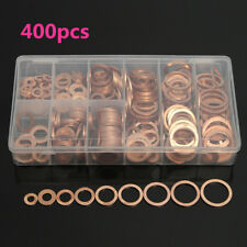 400pcs Copper Washers Flat Ring Sump Plug Oil Seal Gasket Assorted Set Hardware