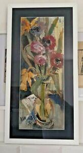 Anton Woelki (1908-1987) original work of art, flowers, acrylic on paper