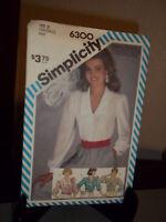 Simplicity #6300 Sewing Pattern Misses Blouse Size N 10 12 14 FF Uncut