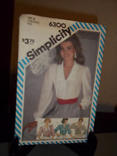 Simplicity #6300 Sewing Pattern Misses Blouse Size N 10 12 14 FF Uncut