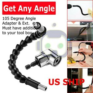 """Right Angle Drill Adapter Flexible Shaft Extension Bits & Screwdriver Hold 1/4"""""""