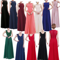 Women Bridesmaid Wedding Formal Lace Maxi Dress Cocktail Party Ball Gown Prom