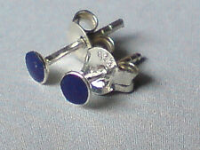 STERLING SILVER 3mm.SMALL ROUND STUD EARRINGS WITH LAPIS STONES £5.50 NWT