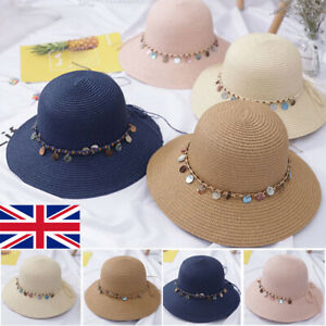 UK Women Fash Foldable Beach Sun Hat Lady Summer Crushable Straw Fisherman Hats