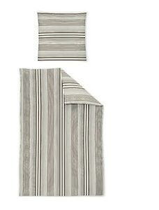 Irisette Mako Satin Bettwäsche EOS 4tlg RV 135x200 cm Streifen taupe weiß