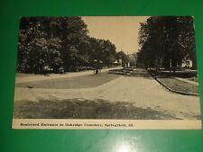 ZT484 Vintage 1912 Postcard Boulevard Entrance Oakridge Cemetery Springfield IL