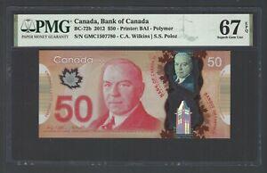 Canada 50 Dollars 2012 BC-72b Uncirculated Grade 67