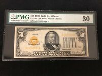 1928 $50 Gold Certificate Graded by PMG as VF 30 Fr #2404
