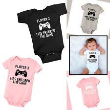 Newborn Baby Unisex One Piece Romper Cute PLAYER 3 Design Short Sleeve Jumpsuit